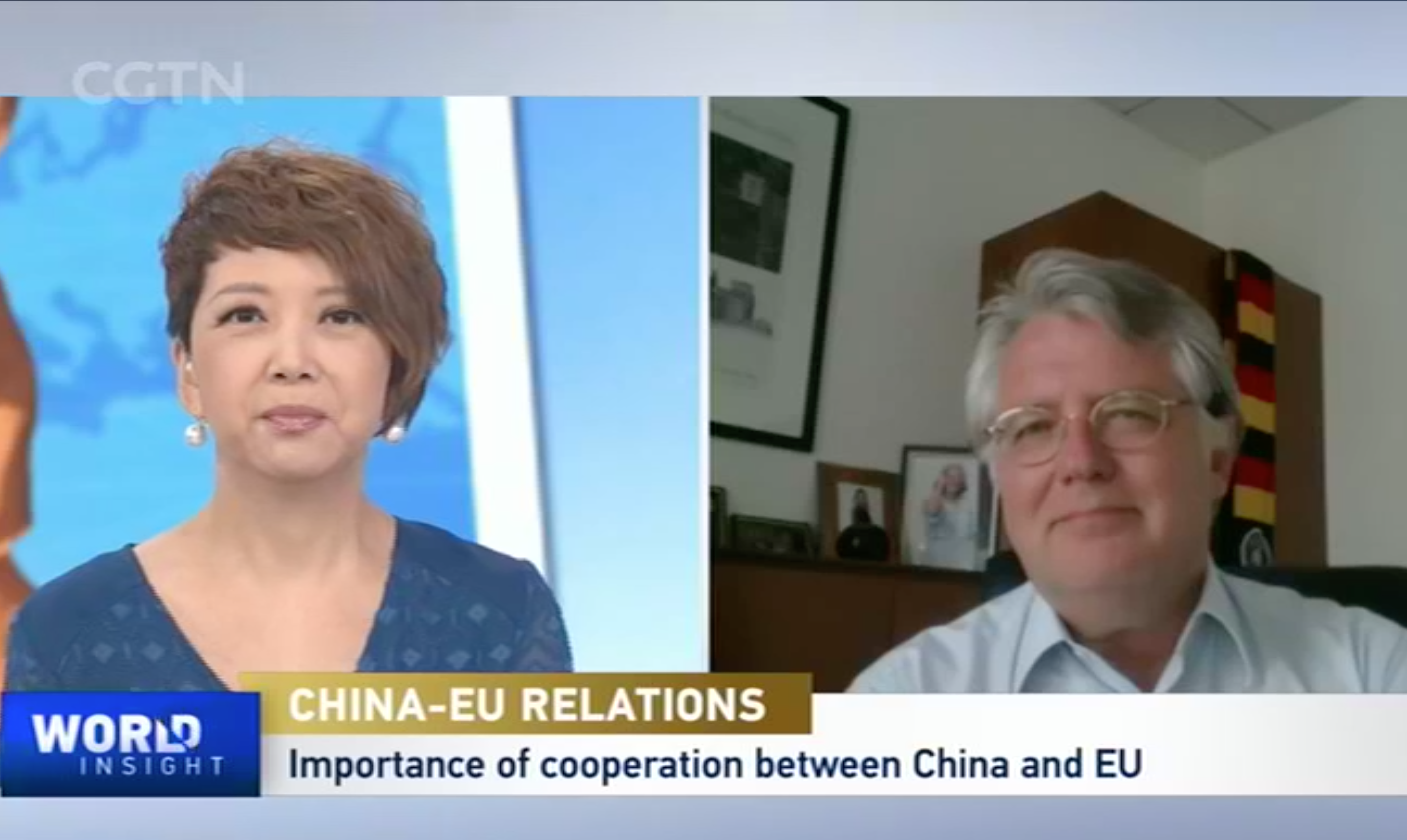 President Wuttke Joins CGTN's World Insight on EU-China Ties